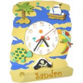 Horloge enfant personnalisée carte au trésor