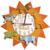 Horloge enfant personnalisée savane