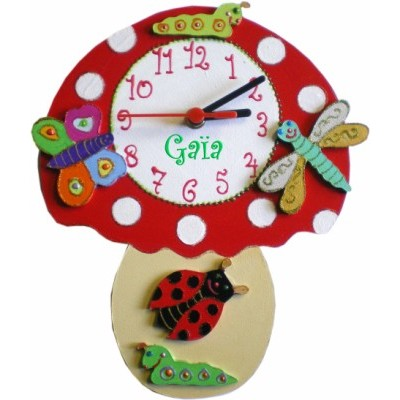 horloge originale champignon pour enfant billes de clowns. Black Bedroom Furniture Sets. Home Design Ideas