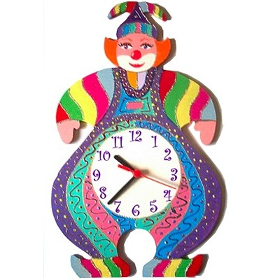 horloge murale enfant clown guy mauve billes de clowns. Black Bedroom Furniture Sets. Home Design Ideas