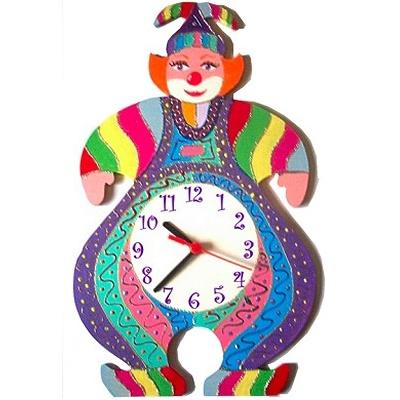 horloge murale enfant clown guy mauve billes de clowns. Black Bedroom Furniture Sets. Home Design Ideas