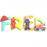 Lettres bois prénom pompier