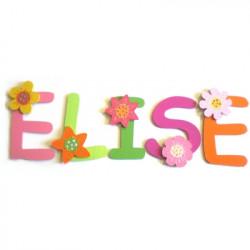 Lettres bois prénom fleurs