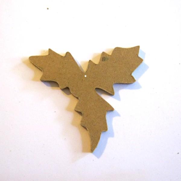 D coration en bois feuille de houx pour sapin de no l for Decoration bois a peindre