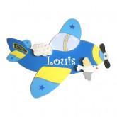 Plaque de porte prénom avion bleu roy