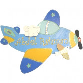 Plaque de porte prénom avion bleu ciel