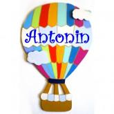 Plaque de porte prénom montgolfière