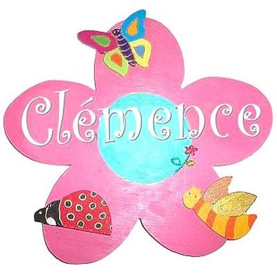 Plaque de porte fleur billes de clowns - Plaque de porte prenom ...