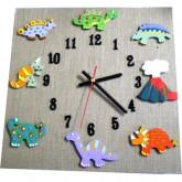 Horloge enfant dinosaures lin