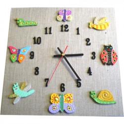 Horloge enfant petites bêtes lin
