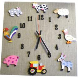 Horloge enfant la ferme lin