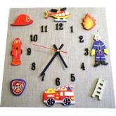 Horloge enfant  pompier lin