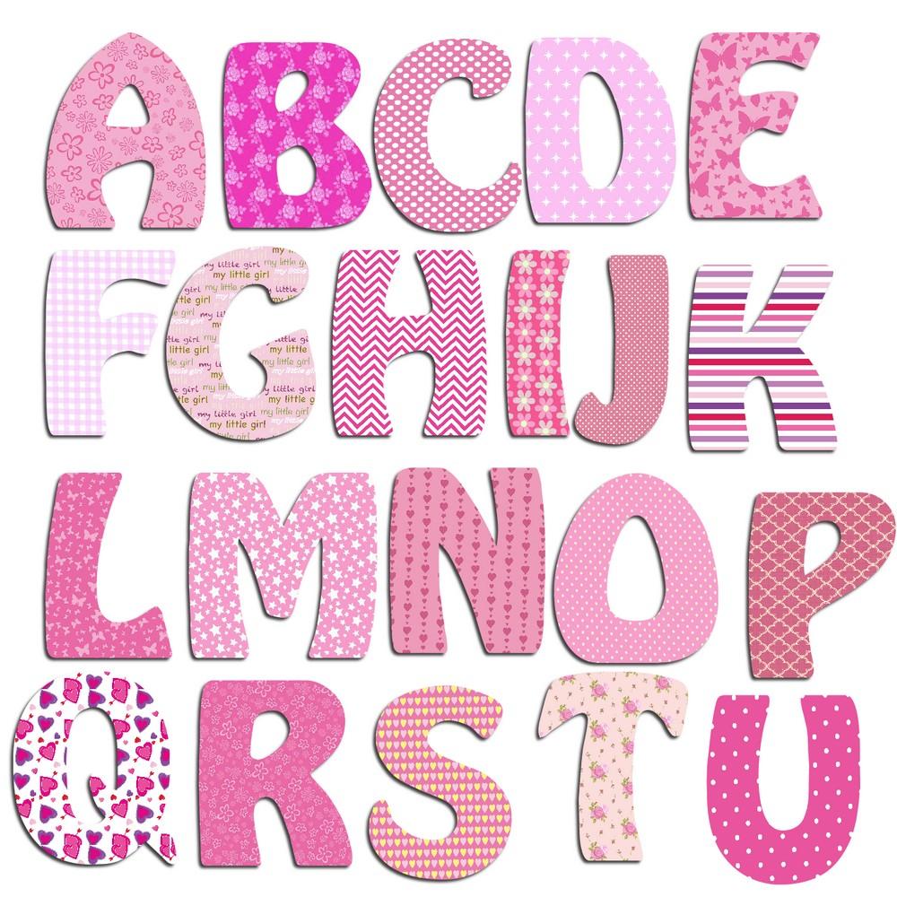 Lettres alphabet en bois fille billes de clowns - Lettre disney ...
