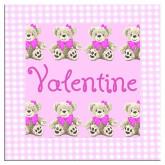 Plaque de porte oursons fuchsia imprimé vichy rose
