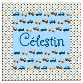 Plaque de porte voitures imprimé pois marron et bleus