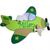 Plaque de porte prénom avion vert anis