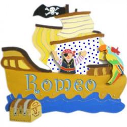 Plaque de porte prénom Bateau pirate