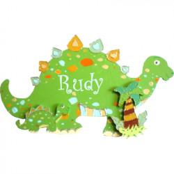Plaque de porte prénom Dinosaure