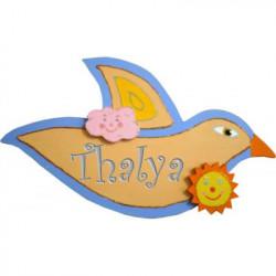 Plaque de porte prénom Oiseau