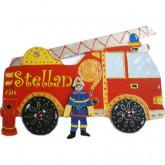 Plaque de porte prénom Camion de pompier