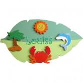 Plaque de porte enfant «sur une île»