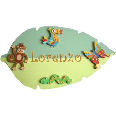 Plaque de porte b b jungle billes de clowns for Plaque de porte chambre enfant