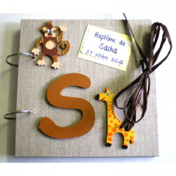 Livre d'or baptême savane singe girafe lin