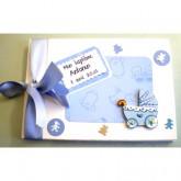 Livre d'or baptême bébé landau bleu