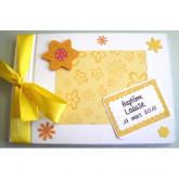 Livre d'or baptême fleur harmonie jaune