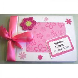 Livre d'or baptême fleur harmonie rose