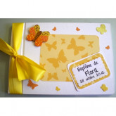 Livre d'or baptême papillon harmonie jaune